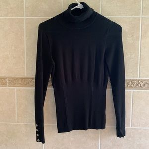 WHBM Black turtleneck sweater with Button Detail